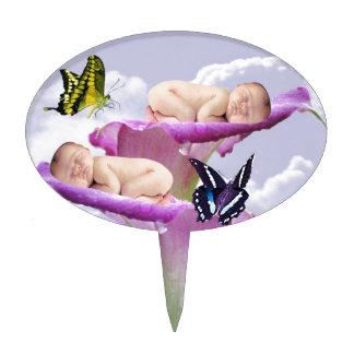 Twice the joy with baby twins shower invitation oval cake topper