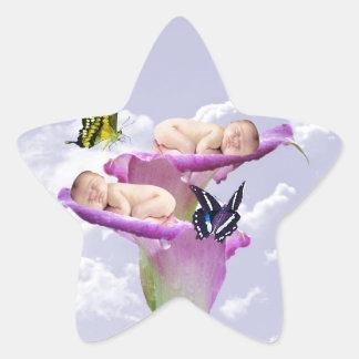 Twice the joy with baby twins shower invitation star sticker