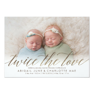 Twice the Love Faux Foil Twin Birth Announcement