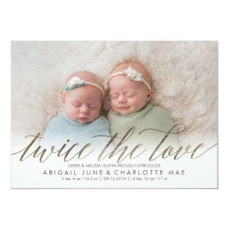 Twice the Love Faux Foil Twin Birth Announcement