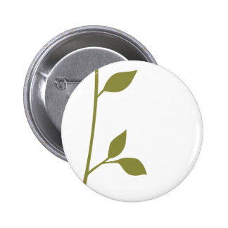 Twig and Leaf 2 Inch Round Button