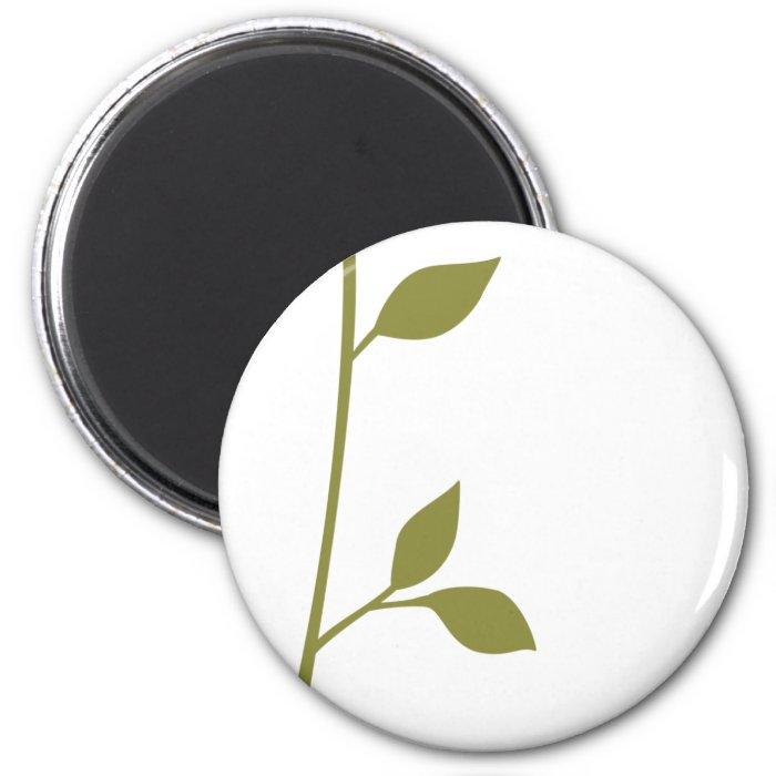 Twig and Leaf 2 Inch Round Magnet