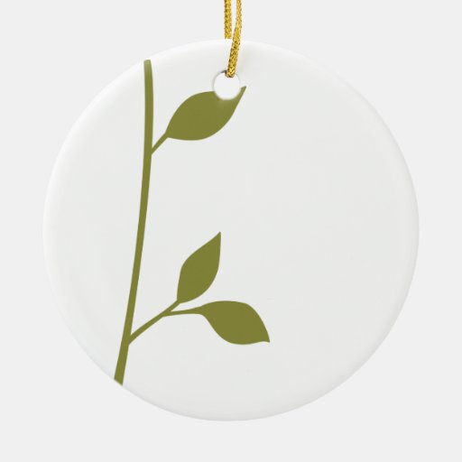 Twig and Leaf Double-Sided Ceramic Round Christmas Ornament