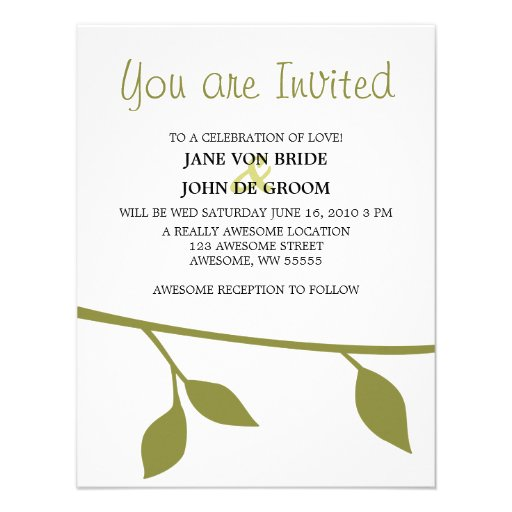 Twig and Leaf Personalized Invitations