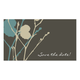 Twig BLUE & CHARCOAL Save the date! Double-Sided Standard Business Cards (Pack Of 100)