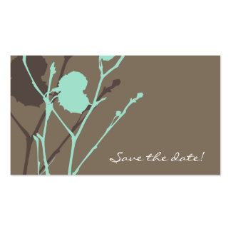 Twig BLUE-MOCHA Save the date! mini Double-Sided Standard Business Cards (Pack Of 100)