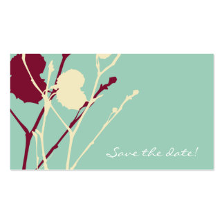 Twig BLUE-RED Save the date! mini Double-Sided Standard Business Cards (Pack Of 100)