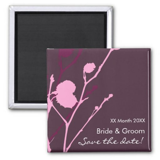 Twig-  PURPLE Save the date Magnet Refrigerator Magnet