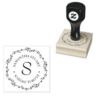 Twig Wreath Monogram Rubber Stamp