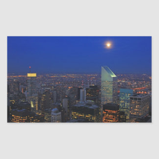 Twilght: Moonrise over the East River, NYC Rectangular Sticker