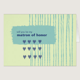 Twilight Aqua Be My Matron of Honor Card