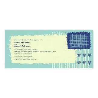 "Twilight Aqua Engagement Invitation 4"" X 9.25"" Invitation Card"