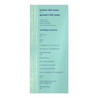 Twilight Aqua Wedding Program 4x9.25 Paper Invitation Card