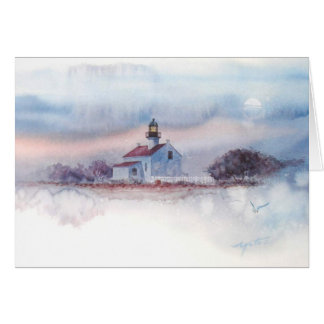 TWILIGHT AT OLD PT. LOMA LIGHTHOUSE, SAN DIEGO, CA GREETING CARD
