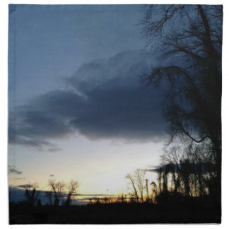 Twilight At The Tree In Winter Napkin