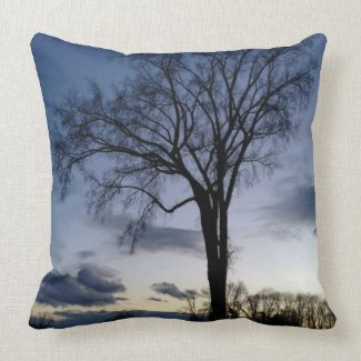 Twilight At The Tree In Winter Throw Pillow throwpillow