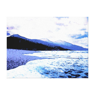 Twilight beach in shades of blue canvas print