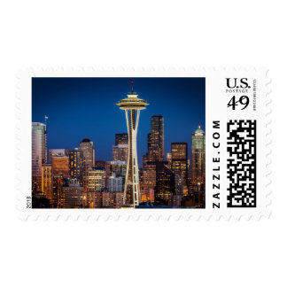 Twilight Blankets The Space Needle And Downtown Stamp