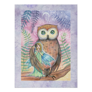 Twilight Companions Owl and Fairy Print