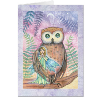 Twilight Companions Owl and Little Fairy Card