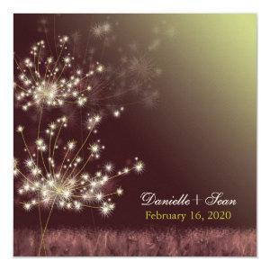 Twilight Dandelion Autumn Garden Wedding Invites 5.25