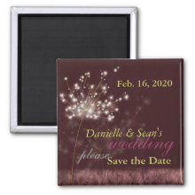 Twilight Dandelion Burgundy Wedding Save the Date Refrigerator Magnet