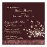 """Twilight Dandelion Floral Bridal Shower Invitation 5.25"""" Square Invitation Card"""
