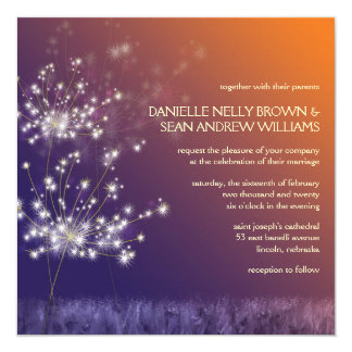 Twilight Dandelion Whimsical Floral Formal Wedding 5.25x5.25 Square Paper Invitation Card