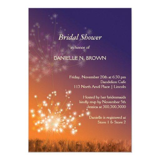 "Twilight Dandelions Fall Floral Bridal Shower 5"" X 7"" Invitation Card"