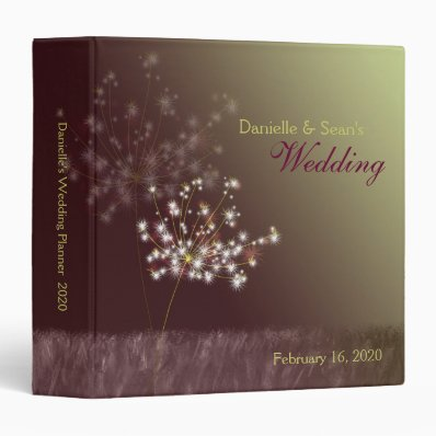 Twilight Dandelions Wedding Planner 3 Ring Binder