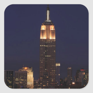 Twilight: Empire State Building lit up Pink - 02 Square Sticker