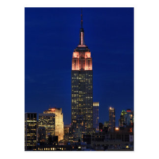 Twilight Empire State Building lit up Pink - 03 Postcards