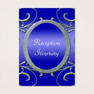 Twilight Evening Metallic Silver Scrolls Wedding Business Card
