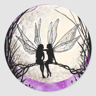 Twilight Fairy Art Stickers, Fairy Silhouettes Classic Round Sticker
