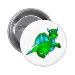 Twilight Flight - Cute Green & Blue Dragon Button