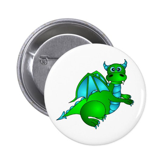 Twilight Flight - Cute Green & Blue Dragon Button