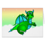 Twilight Flight - Cute Green & Blue Dragon Greeting Card