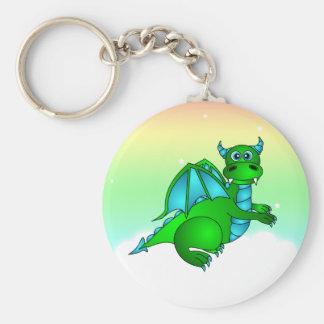 Twilight Flight - Cute Green & Blue Dragon Keychain