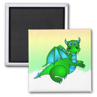 Twilight Flight - Cute Green & Blue Dragon 2 Inch Square Magnet