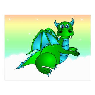 Twilight Flight - Cute Green & Blue Dragon Postcard