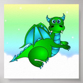 Twilight Flight - Cute Green & Blue Dragon Poster