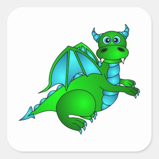 Twilight Flight - Cute Green & Blue Dragon Square Sticker