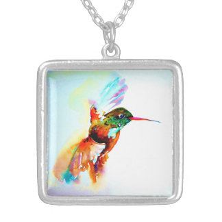 """Twilight Flight"" Hummingbird Print on Silver Plated Necklace"
