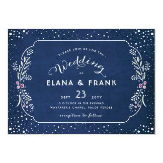 Twilight Garden Royal Blue Evening Wedding Card