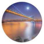 Twilight, George Washington BridgePalisades, NJ. Dinner Plate