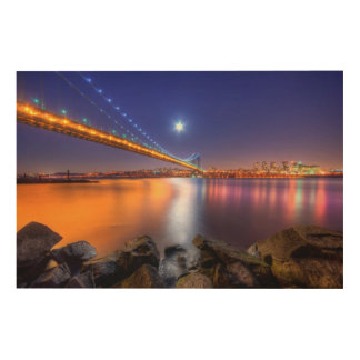 Twilight, George Washington BridgePalisades, NJ. Wood Wall Art