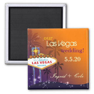 Twilight Las Vegas Wedding Save the Date 2 Inch Square Magnet