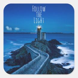 Twilight Lighthouse Follow the Light Square Sticker