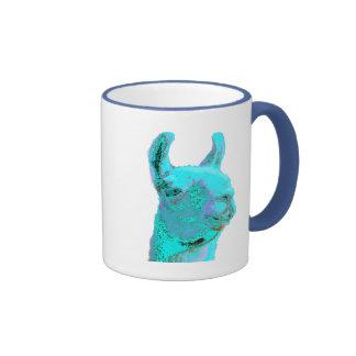 Twilight Llama, turqoise llama, llama head Ringer Mug