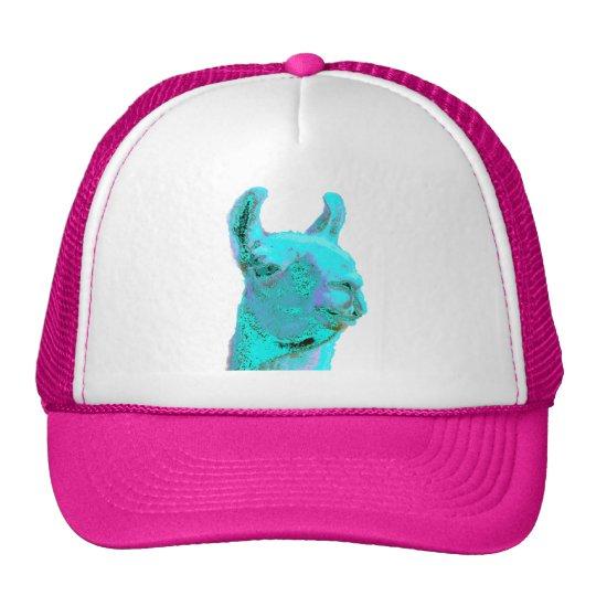 Twilight Llama, turqoise llama, llama head Trucker Hat